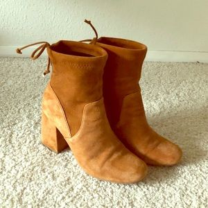 Anthropologie Brown Suede Ankle Boots